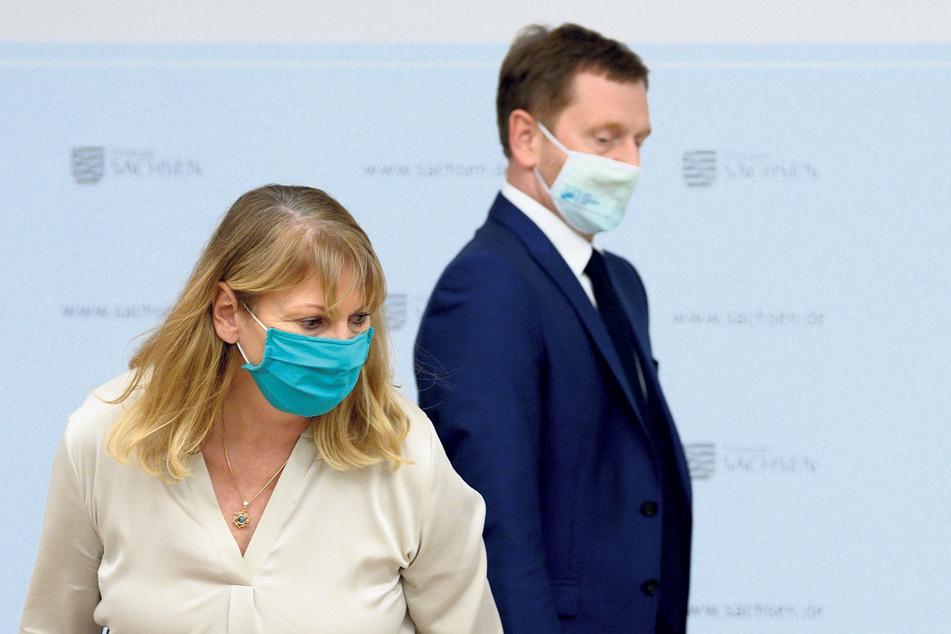 """""""Sozialwissenschaftliche Beratung kommt zu kurz"""": Sachsens Gesundheitsministerin Petra Köpping (62, SPD), Ministerpräsident Michael Kretschmer (45, CDU)."""