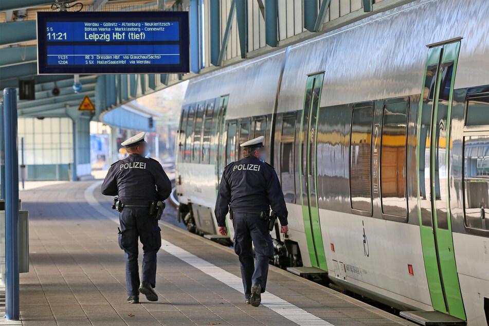 Ein Blick in den Zug! Die Bundespolizei kontrolliert am Zwickauer Hauptbahnhof die Maskenpflicht.