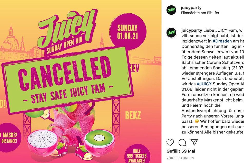 Das ursprünglich für Sonntag geplante Juicy-Open-Air an den Filmnächten ist bereits gestrichen worden.