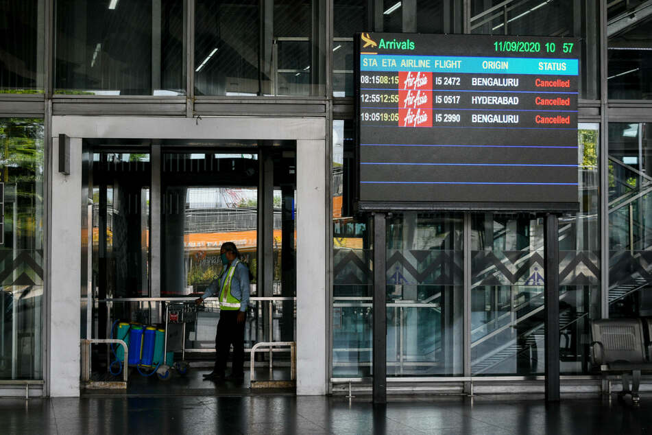 Timing board showing canceled flights due to lockdown at Netaji Subhash International Airport in Kolkata, India.