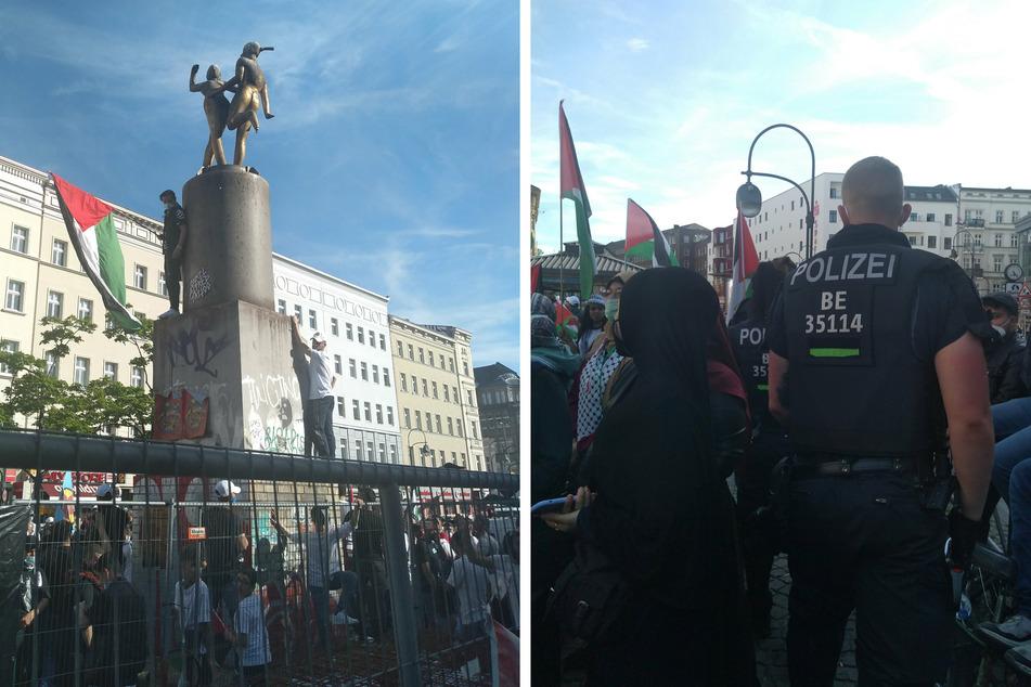 Hunderte Demonstranten versammelten sich am Sonntag auf dem Hermannplatz in Berlin-Neukölln.