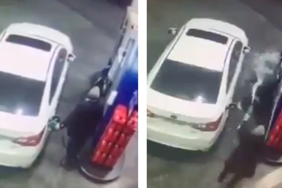 A man in Independencia, Chile was filling up his gar when he has to turn the running gas hose on a car-jacker.