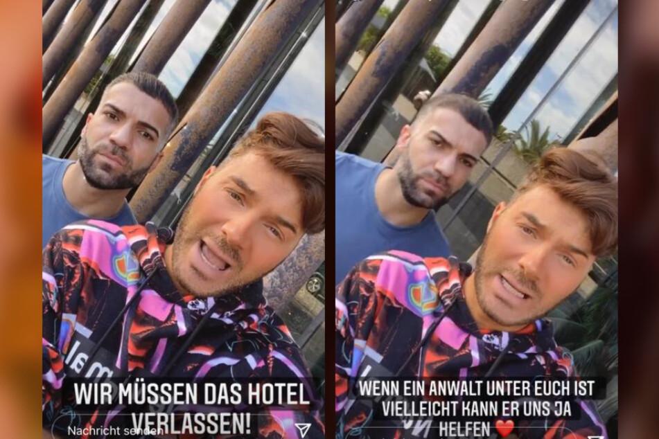 Rafi Rachek (30, l.) und Sam Dylan (29) waren nach einer wilden Party-Nacht im Hotel, für die das Hotel die beiden rausschmiss, völlig aufgelöst.