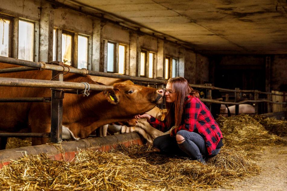 """Lisa mit Kuh """"Maja"""", die sie gerade erst aus der Massentierhaltung befreit haben."""