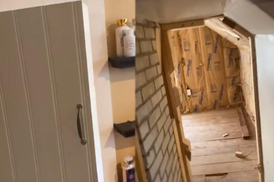 Hinter dem begehbaren Schrank befanden sich mehrere Räume (Bildmontage).