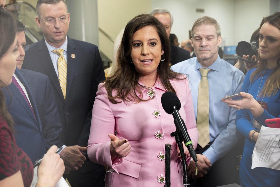 Elise Stefanik spoke to reporters in Washington DC.