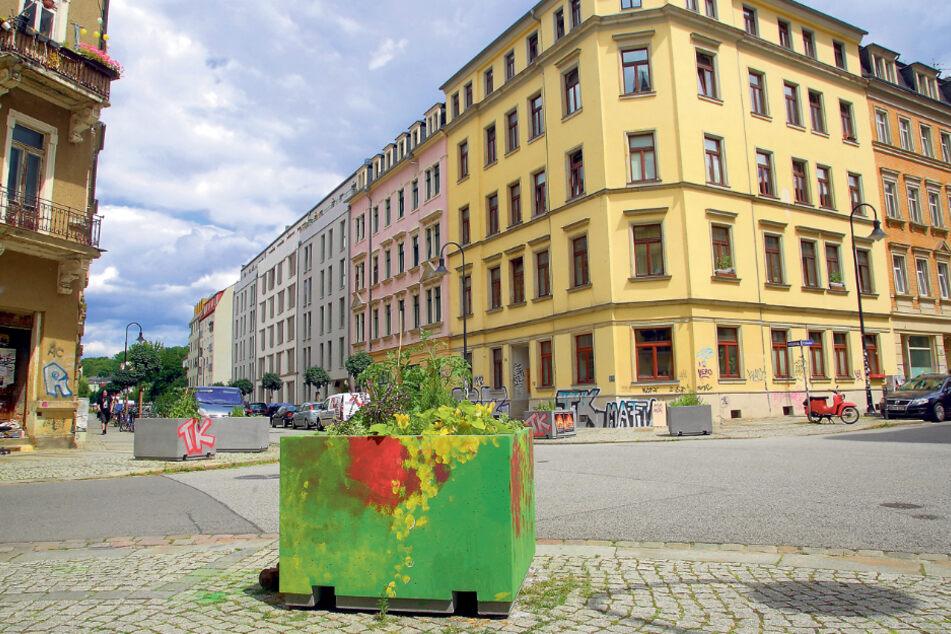 Nicht schön, aber wirksam: Im Hechtviertel hindern Blumenkübel Autofahrer im Kreuzungsbereich am Falschparken.