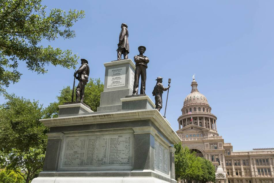 The Confederate Soldiers Monument, erected in 1903, still stands outside the Texas State Capitol.