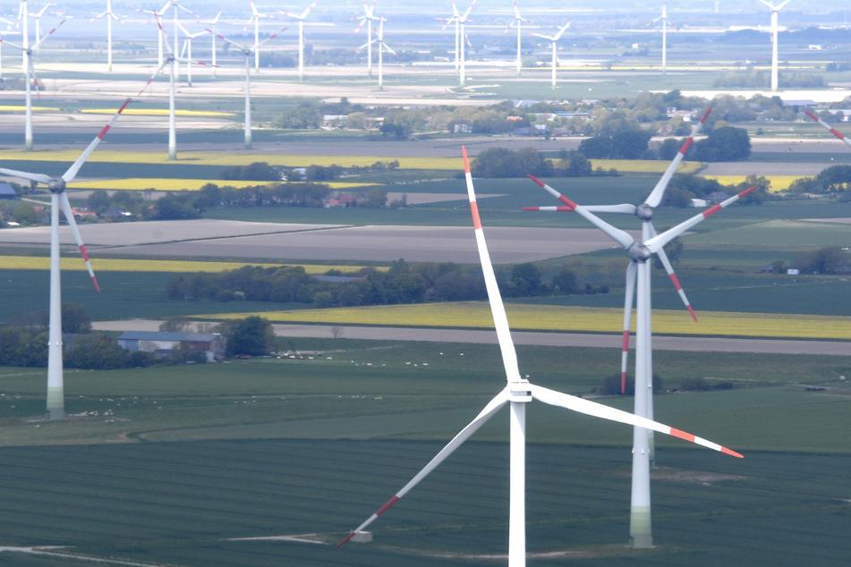 Windkraftanlagen stehen in der Nähe der Nordseeküste bei Büsum.