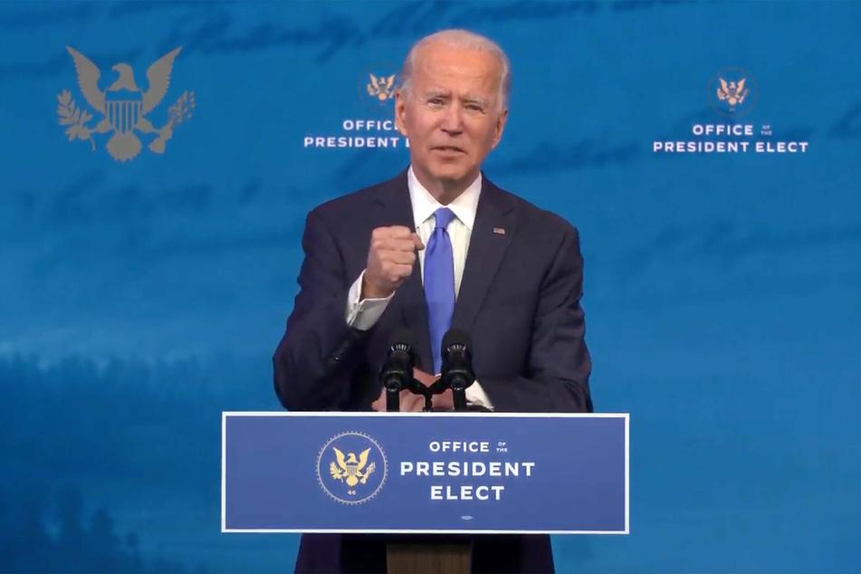 Joe Biden speaks at the Queen Theater in Wilmington, Delaware, after winning the Electoral College vote.