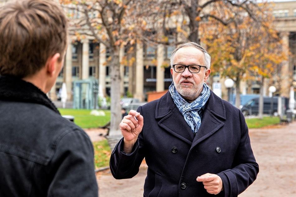 """Jörg Sommer, der Direktor des Berliner Instituts für Partizipation, hält eine pauschale Beschimpfung der Demo-Teilnehmer als """"Covidioten"""" für gefährlich."""
