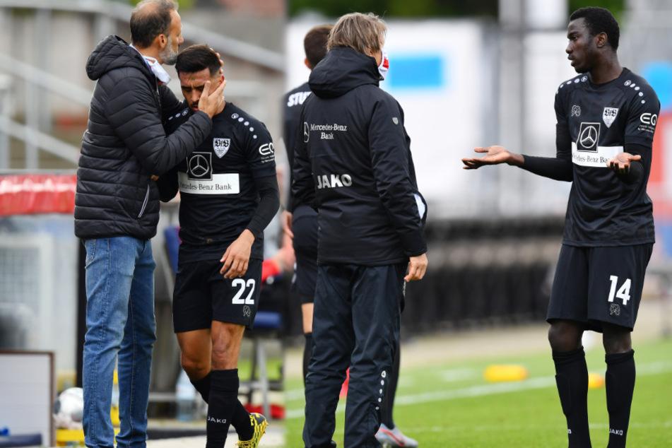 VfB-Coach Pellegrino Matarazzo tröstet Nicolas Gonzalez nach dessen Auswechslung gegen Holstein Kiel (links), Silas Wamangituka diskutiert mit Sportdirektor Sven Mislintat. (Fotomontage)