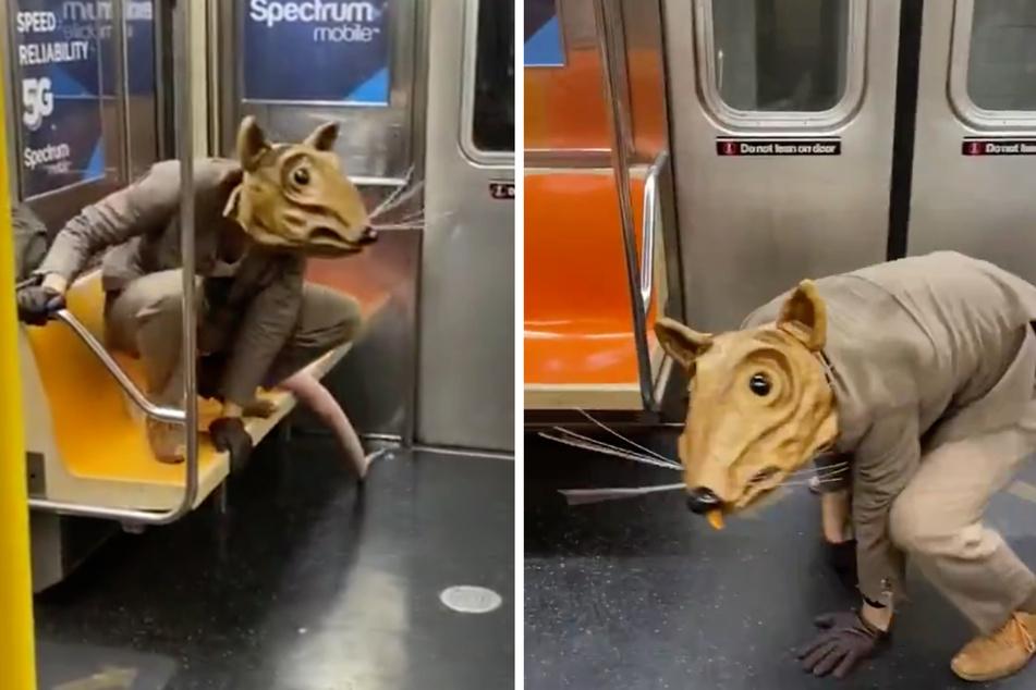 Mit Rattenkopf, Rattenschwanz, Anzug und Handschuhen klettert Lyons in die New Yorker U-Bahn.