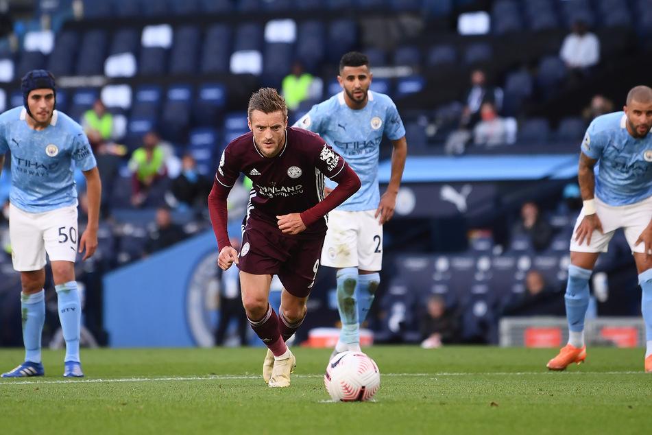 Jamie Vardy ging im Spiel gegen Manchester City voran und erzielte drei Treffer.