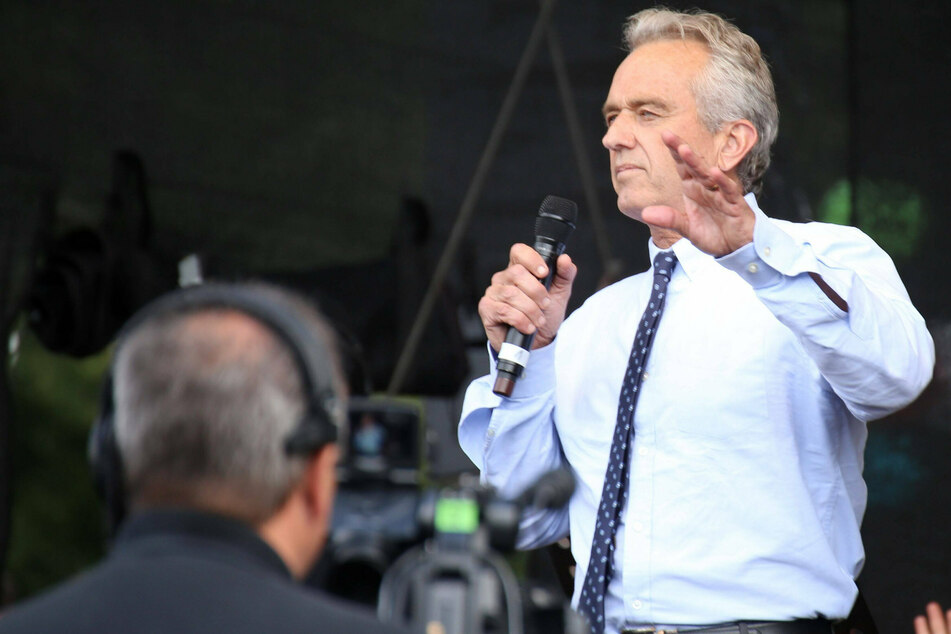 Robert F Kennedy Jr., seen here speaking at an anti-Covid restrictions rally in Berlin, Germany.
