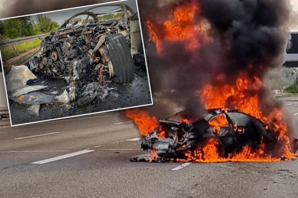 Unfall A66: Dramatischer Unfall auf A66: BMW fackelt nach Reifenplatzer komplett ab