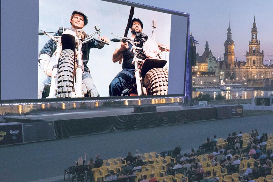 """Terence Hill (81) und Bud Spencer (†86) im Film """"Zwei wie Pech und Schwefel"""", der am 21. August nach dem Konzert bei den Filmnächten am Elbufer läuft."""