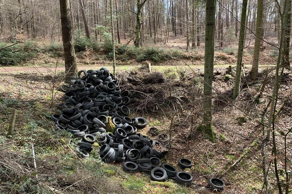 Unbekannte haben in einem Waldstück bei Erlenbach in Rheinland-Pfalz eine riesige Menge gebrauchter Autoreifen entsorgt.