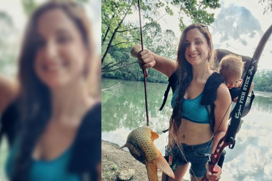 Stolz präsentiert die Amerikanerin ihren Fang. Auch ihre Tochter ist mit dabei.