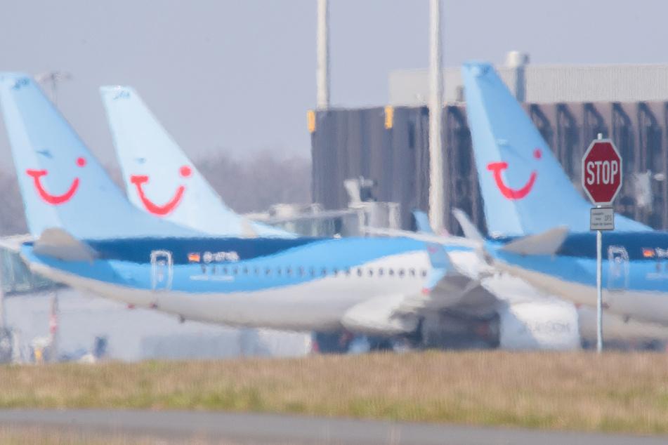 Flugzeuge von Tuifly parken am Flughafen Hannover. (Archivbild)
