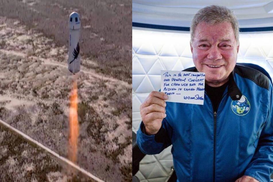 Star Trek actor William Shatner (r.) took an 11-minute trip into space aboard the Blue Origin New Shepard (l.) on Wednesday, and at age 90, became the oldest person to have flown in space.