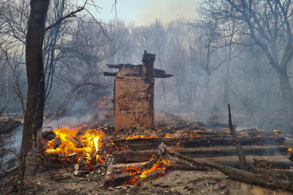 Ein unbewohntes Haus ist bei einem Waldbrand in der radioaktiv belasteten Sperrzone um das Kernkraftwerk Tschernobyl niedergebrannt.