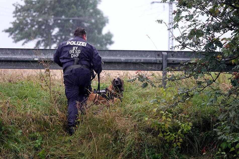 Bereits am Donnerstag hatten Passanten Leichenteile oberhalb der B174 entdeckt. Die Polizei suchte mit Spürhunden nach weiteren Spuren.