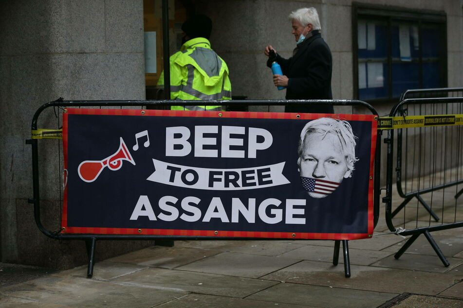 Demonstrators gathered outside the court during Assange's hearing to show their support for the journalist.