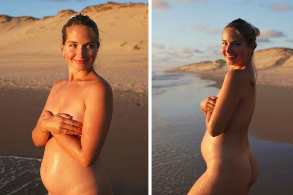 Charlotte Weise (28) posiert nackt an einem Strand.