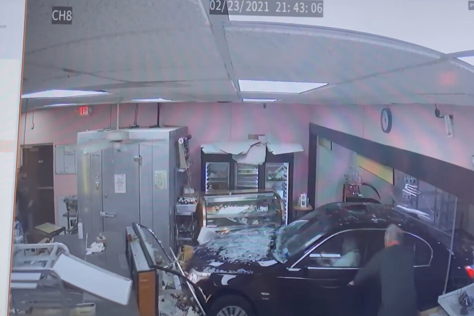 An elderly woman accidentally ran her car through the front of Dolce and Biscotti Fine Italian Bakery after pressing the wrong pedal.