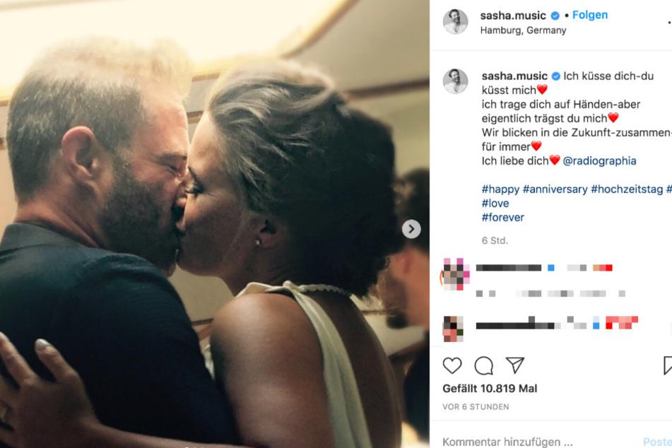 Auf Instagram teilt Sasha mehrere Hochzeitsbilder.