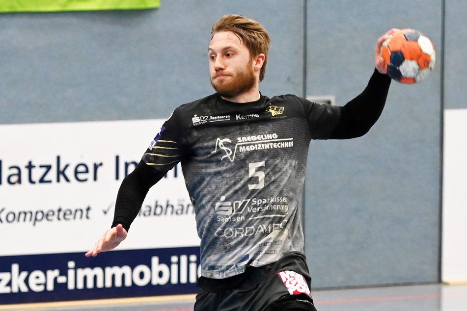 Lukas Wucherpfennig war beim Dresdner Sieg in Emsdetten mit elf Treffern, davon sieben Strafwürfe, der erfolgreichste Dresdner Schütze.