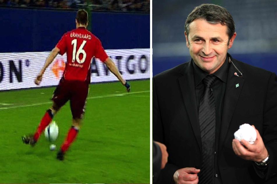 """HSV-Verteidiger Michael Gravgaard (links) will den Ball klären, dessen Richtung durch die Papierkugel verändert wird. Werder-Manager Klaus Allofs hält das """"goldene"""" Stück aus Bremer Sicht in seiner Hand."""