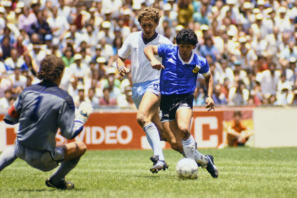 "Maradona scoring ""the goal of the century"" against England in 1986."