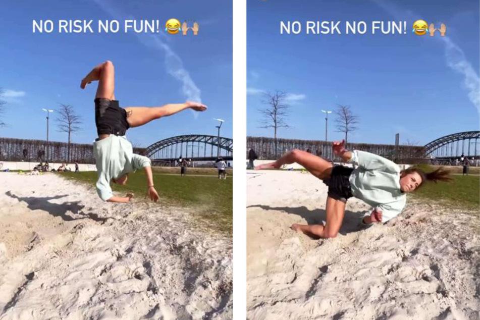 Jennifer Lange (27) zog sich am Mittwoch eine Verletzung beim Radschlagen zu und zeigte ihren Instagram-Followern einen Clip, der den Unfall dokumentierte.