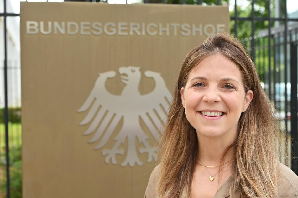 Luisa-Maxime Huss (30) war als einzige der geladenen Influencerinnen zum Prozess an den Bundesgerichtshof gekommen.