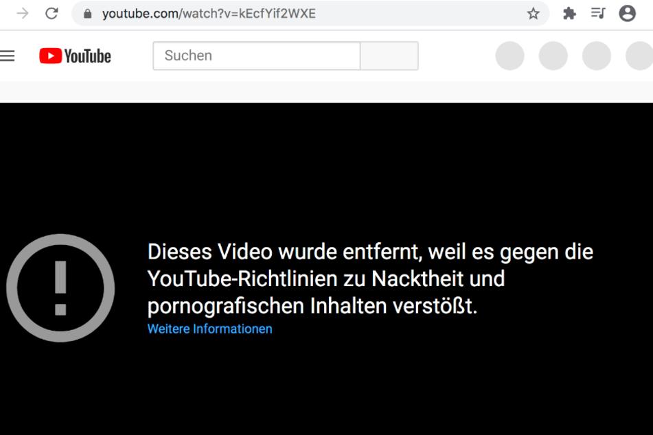 Statt kurioser Fakten über Sex zeigt YouTube beim Aufruf von Hanna Secrets Video nur noch diesen Sperrhinweis an.