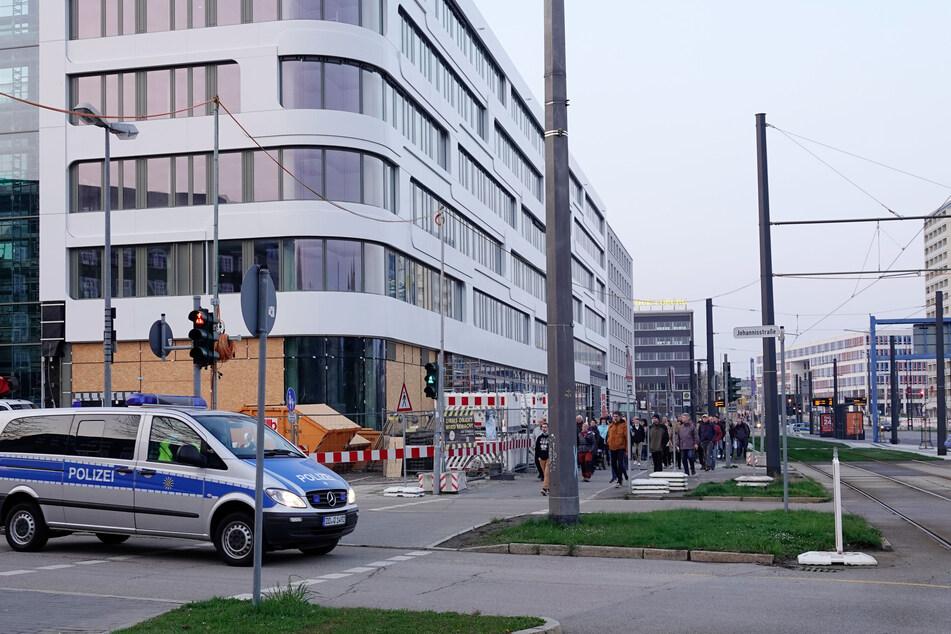Corona-Demo am Montagabend im Chemnitzer Zentrum.