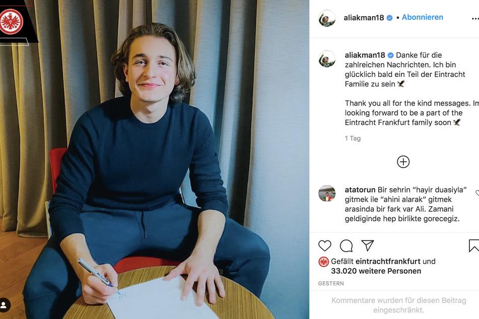 Die Unterschrift bei Eintracht Frankfurt kostete Sommer-Neuzugang Ali Akman (18) seinen Platz bei seinem aktuellen Arbeitgeber Bursaspor.