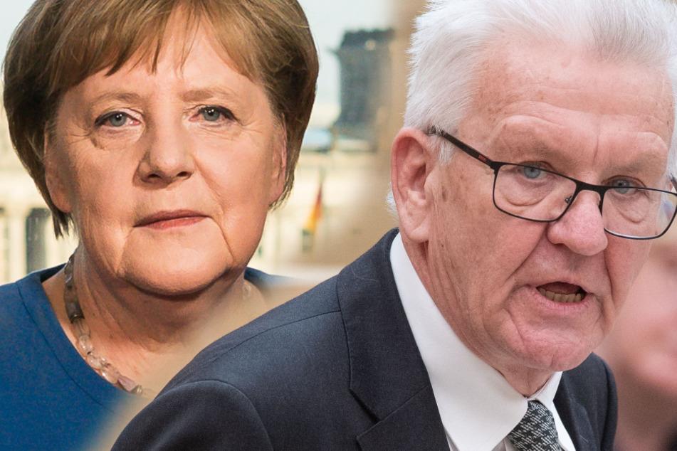 Angela Merkel berät sich mit den Ministerpräsidenten, darunter Winfried Kretschmann.
