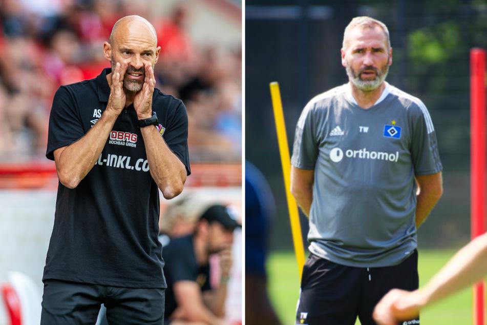 HSV-Coach Tim Walter (45, r.) empfängt mit seiner Mannschaft Aufsteiger Dynamo Dresden mit Trainer Alexander Schmidt (52).