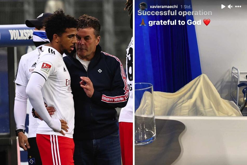 Die Leihgabe vom Hamburger SV, Xavier Amaechi (20, hier mit Ex-Trainer Dieter Hecking, 56), zog sich einen Mittelfußbruch zu und wurde operiert.