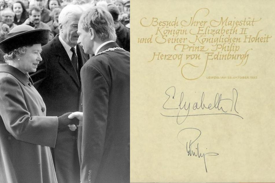 Die Queen 1992, begleitet von Richard von Weizsäcker, begrüßt von Dresdens OB Herbert Wagner. (Bildmontage)