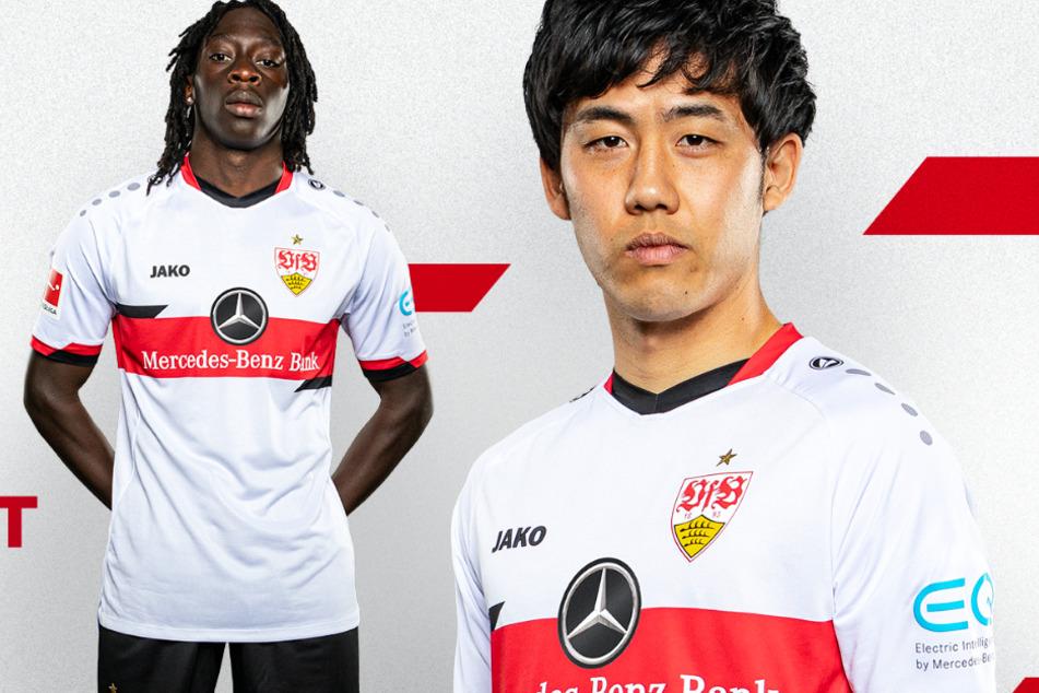 Tanguy Coulibaly (20) und Wataru Endo (28) präsentieren das neue VfB-Heimtrikot.