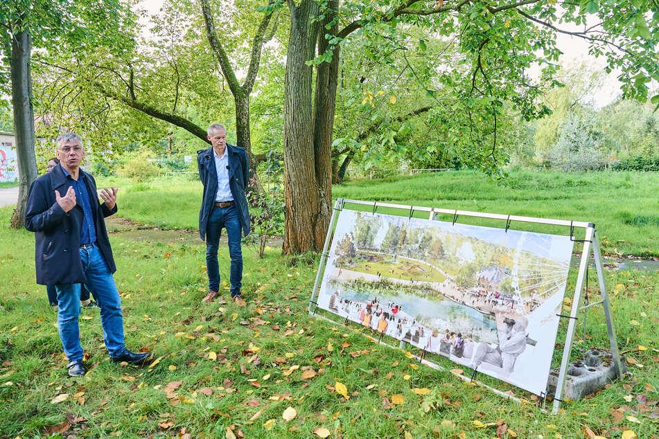 Staatssekretär für Umwelt und Klimaschutz Stefan Tidow (54, l.) und Christoph Schmidt von der Grün Berlin GmbH stellen die Zukunft des Spreeparks vor.