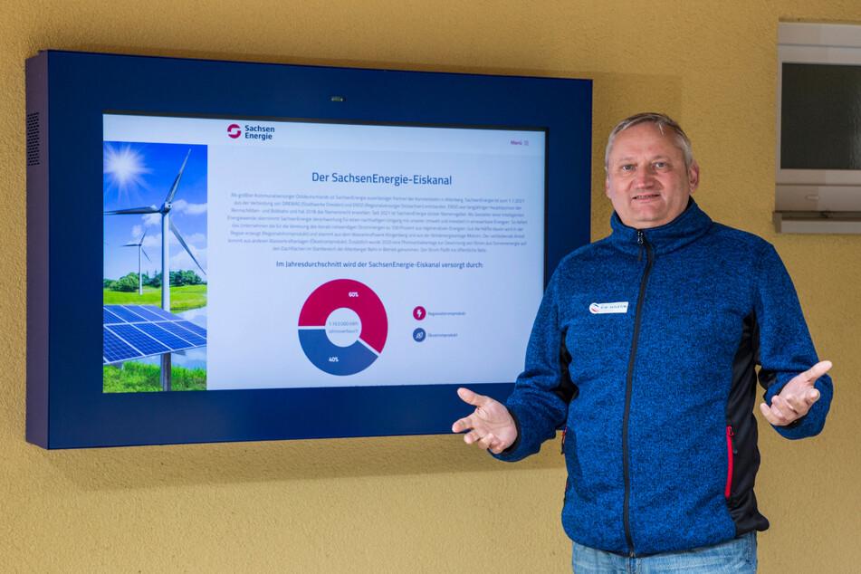 Auch auf der Bobbahn Altenberg gibt es eine große Solaranlage. Bahn-Chef Jens Morgenstern (55) kann auf einem Display ablesen, wie viele Stromerträge aktuell bei ihm am Eiskanal erzielt werden.