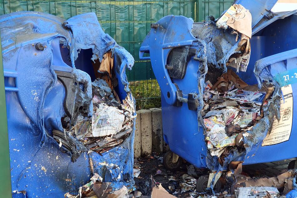 Die Brandserie geht weiter: Im Chemnitzer Ortsteil Kapellenberg wurden über Nacht mehrere Container in Brand gesetzt. Erst am Sonntag fackelten auf dem Kapellenberg mehrere Container ab (im Bild).