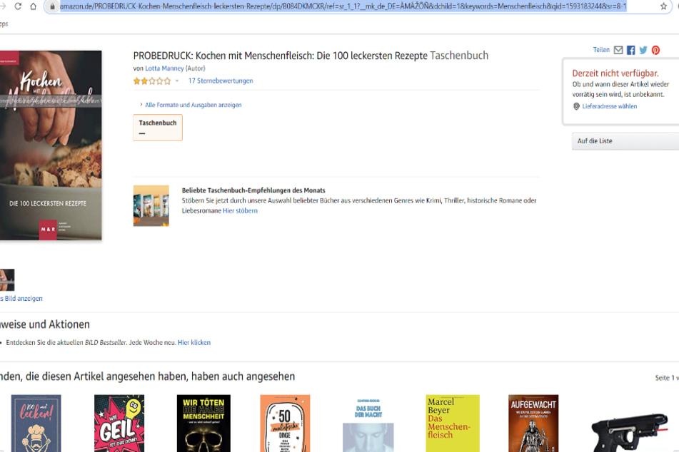 """Das """"Kochbuch"""" ist nicht mehr bei Amazon erhältlich. (Stand: 26. Juni 2020, 16.45 Uhr)"""