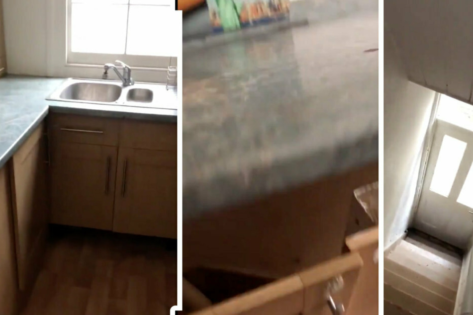 At first sight it looks like a normal kitchen, but then Jamie lifts the countertop, revealing a hidden staircase (collage).