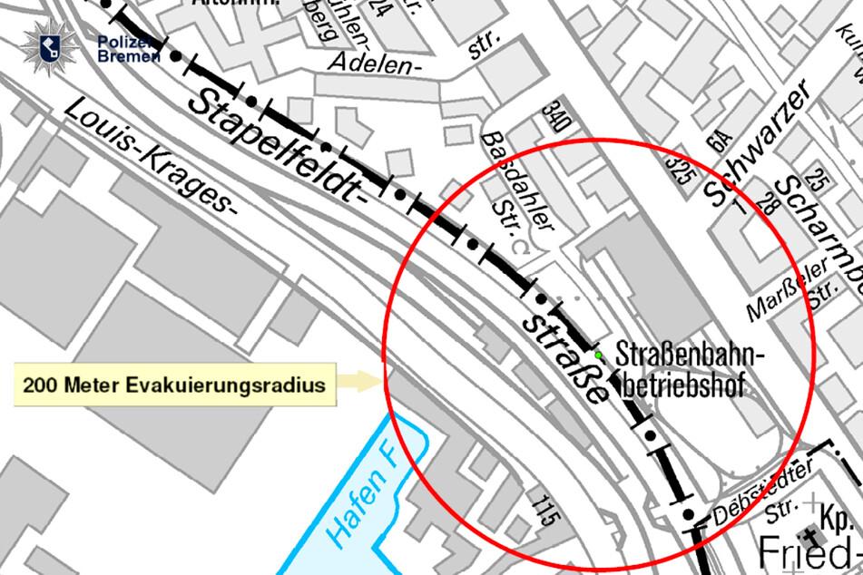 Die Polizei veröffentlichte eine Karte des betroffenen Gebiets, der Evakuierungsradius ist rot eingekreist.